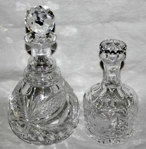 010327 CUT GLASS DECANTERS  ICE BUCKET