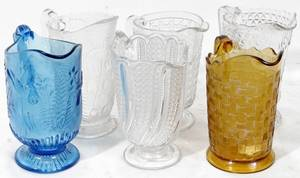040399 CLEAR AMBER  BLUE PRESSED GLASS PITCHERS 6