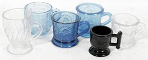040404 MOLDED AMETHYST BLUE  CLEAR GLASS MUGS 6