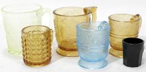 040403 AMBER CANARY AMETHYST  BLUE GLASS MUGS