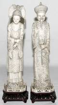 022362 CHINESE HAND CARVED IVORY EMPEROR  EMPRESS