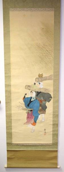 011446 JAPANESE PAINTED SILK SCROLL FIGURES W WHEAT