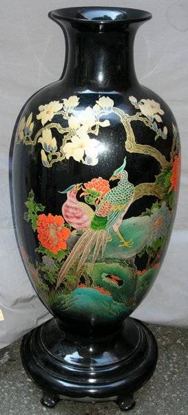 011444 CHINESE BLACK LACQUER VASE H45 DIA17