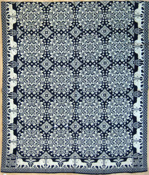 Rare New York blue and white coverlet