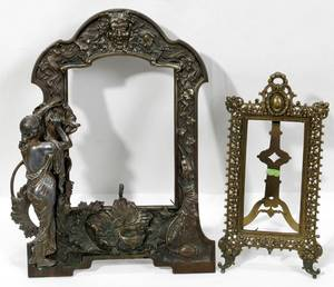 010354 FRENCH  ART NOUVEAU STYLE BRASS EASEL FRAMES
