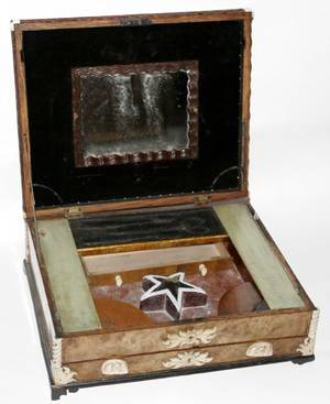 112323 ENGLISH BURLED WALNUT INLAID SEWING BOX