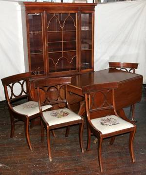 041483 MAHOGANY DINING TABLE 4 CHAIRS  CABINET