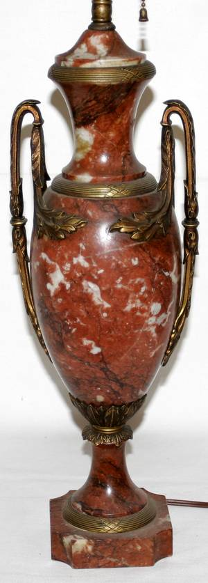 041480 FRENCH ROUGE MARBLE TABLE LAMP C1910