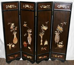 032421 CHINESE FOUR PANEL FOLDING SCREEN
