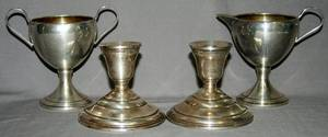 011515 AMERICAN STERLING SILVER CANDLESTICKS CREAMER