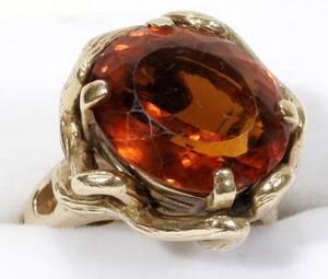 121559 YELLOW GOLD  ORANGE STONE RING