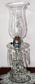 112349 CUT CRYSTAL LAMPS W HURRICANE GLASS SHADES