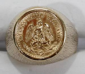 110420 DOS PESO MEXICAN GOLD COIN MOUNTED AS RING