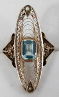 032473 10K YELLOW GOLD BLUE TOPAZ  SEED PEARL RING