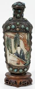 011540 BRASS TURQUOISE  FAUX IVORY SNUFF BOTTLE