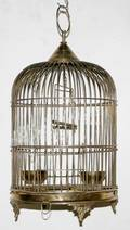 011531 HANGING STYLE BRASS BIRD CAGE ANTIQUE H23