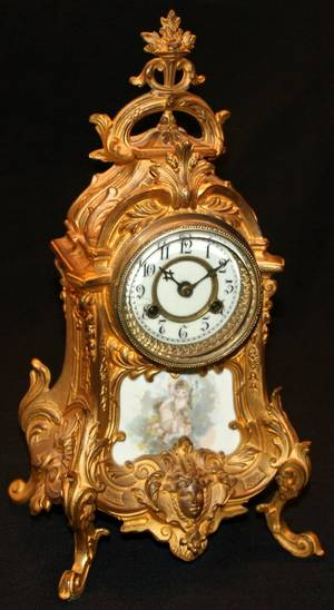 122458 WATERBURY GILT BRONZE MANTLE CLOCK H155 W7