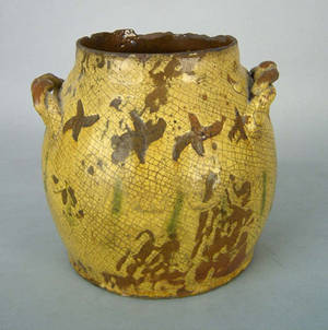 American redware crock early 19th c