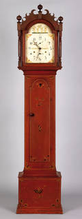 Connecticut painted pine tall case clock ca 1820