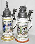 031601 GERMAN PORCELAIN MILITARY STEINS WLITHOPANES