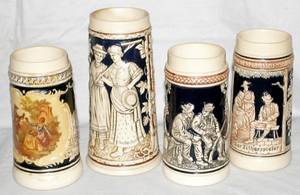 031590 GERMAN POTTERY STEINS WFIGURAL RESERVES