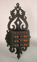 Carved and painted hanging box late 19th c