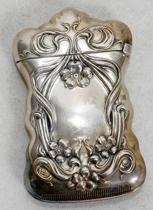 021547 ART NOUVEAU STYLE SILVERPLATE MATCH SAFE