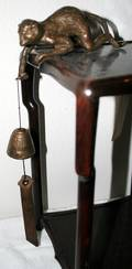021533 JAPANESE BRONZE FIGURE MONKEY WHANGING BELL