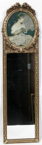 011594 FRENCH STYLE TRUMEAU MIRROR W PRINT