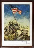 112442 CC BEALL AUTOGRAPHED REPRO FLAG AT IWO JIMA