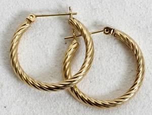 110489 14K YELLOW GOLD ROPE TWIST HOOP EARRINGS