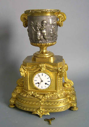 French gilt bronze mantle clock