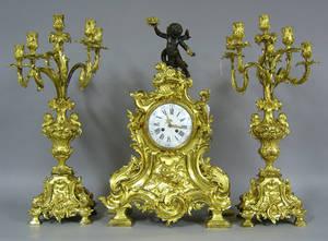Marti et Cie gilt bronze clock garniture