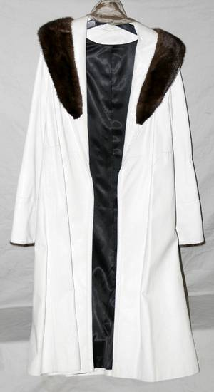 030500 WHITE LEATHER  RANCH MINK COAT