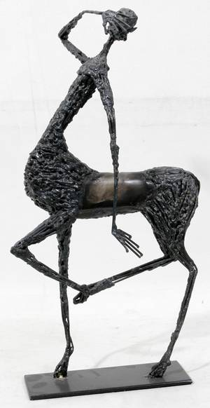 020547 CAST METAL MODERN SCULPTURE OF A CENTAUR
