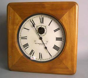 Self Winding Clock Co mahogany wall clock