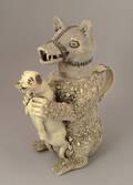 Staffordshire pearlware bear and dog cistern ca 1800