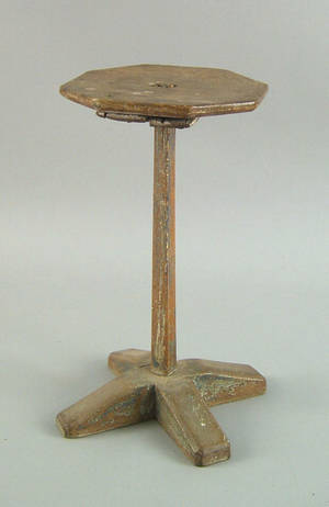 New England maple and pine candlestand ca 1740