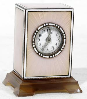 021026 FRENCH GUILLOCHE ENAMEL MINIATURE CLOCK