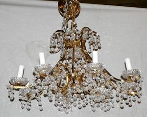 020037 FRENCH STYLE CRYSTAL  BRASS CHANDELIER