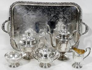 011024 TOWLE STERLING SILVER TEA  COFFEE SET  TRAY