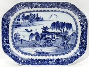 011060 CHINESE EXPORT BLUE  WHITE PORCELAIN PLATTER