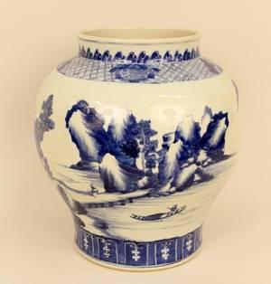 Oriental Blue  White Porcelain Urn