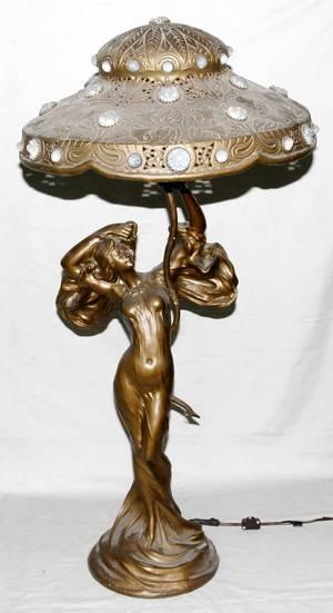 120035 ART NOUVEAU STYLE SPELTER FIGURAL LAMP