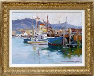 112008 EDWARD N WARD OIL ON CANVAS BOATS AT DOCK