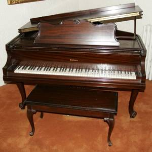 111011 BALDWIN CARVED MAHOGANY BABY GRAND PIANO