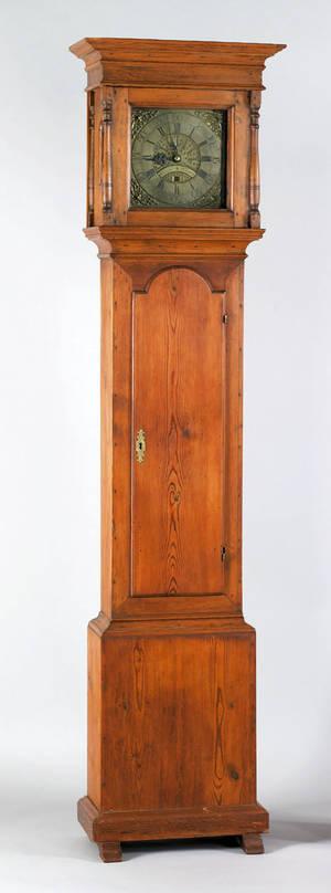 Philadelphia Queen Anne yellow pine tall case clock mid 18th c