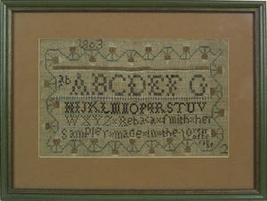 Pennsylvania silk on linen sampler dated 1803 wrought by Rebaca Mith