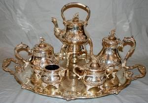 110038 SHEFFIELD ENGLISH SILVER PLATE TEA SET 6PCS