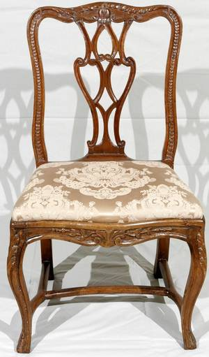 091082 FRENCH CARVED WALNUT SIDE CHAIR 18TH C